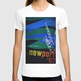 1962 Newport Jazz Festival Vintage Advertisement Poster Newport, Rhode Island T-shirt