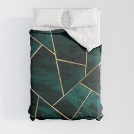 Dark Teal Ink Gold Geometric Glam #1 #geo #decor #art #society6 Comforters