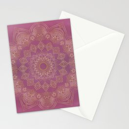 Gold Mandala on Pink and Purple Watercolor Stationery Cards
