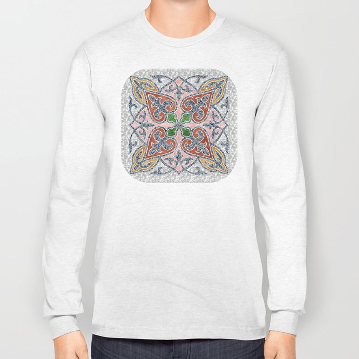 Blue Oriental Tile 03 Long Sleeve T-shirt