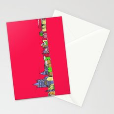 Sketchy Town in pink Stationery Cards