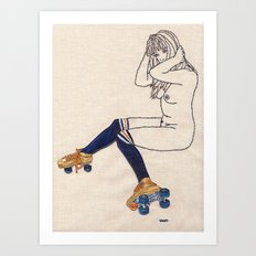 Striped Socks and Roller Skates Art Print