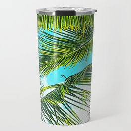 Life Under Palm Trees, Colorful Bohemian Beachy, Tropical Travel Nature Graphic Design Travel Mug