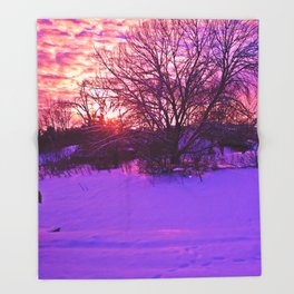 KINGSPORT, TN - WINTER SUNSET Throw Blanket