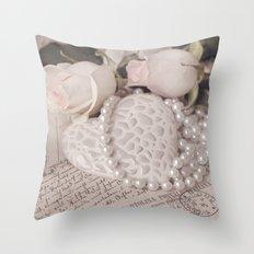 Soft Pink Nostalgic Rose and Heart Still Throw Pillow