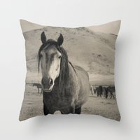 mustang Throw Pillows featuring mustang by Michelle Elizabeth
