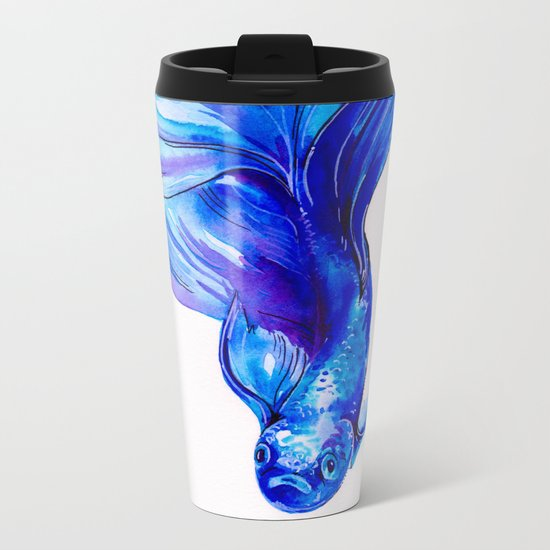 Betta in Blue Metal Travel Mug