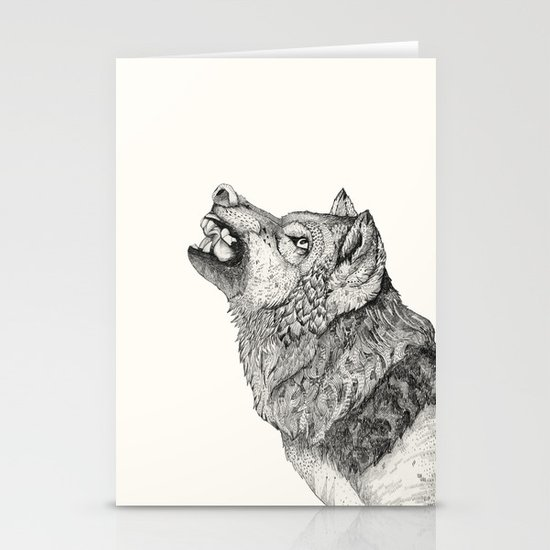 Wolf // Graphite Stationery Cards