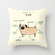 Anatomy of a Pug Throw Pillow