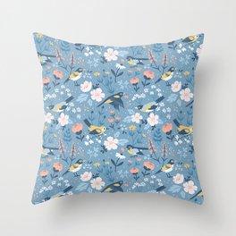 Birds & Blooms (Blue) Throw Pillow