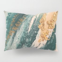 Teal and Gold Glam Abstract Painting Pillow Sham