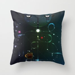 Self Portrait: Raid Boss, Coffee and Constellations Throw Pillow