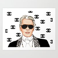 karl lagerfeld Art Prints featuring I Love Lagerfeld by ROCKGLITTER