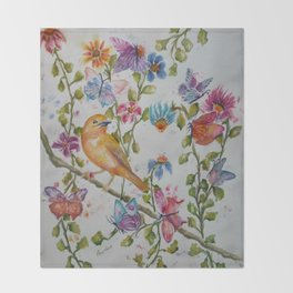 YELLOW BIRD WITH WHIMSICAL FLOWERS AND BUTTERFLIES Throw Blanket