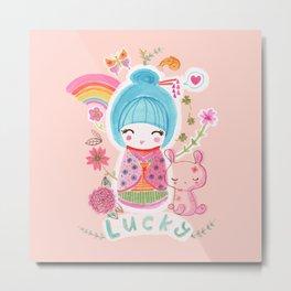 Lucky Kokeshi Metal Print