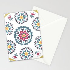 Suzani inspired floral blue 3 Stationery Cards