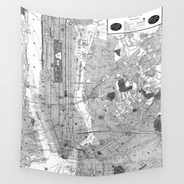 Vintage Map of New York City (1918) BW Wall Tapestry