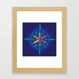 Kayak Compass Rose Framed Art Print