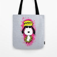 snoopy Tote Bags featuring Snoopy Dog by Mateus Quandt