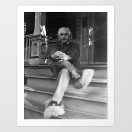 Albert Einstein in Fuzzy Slippers Classic Black and White Satirical Photography - Photographs Art Print