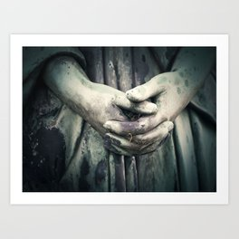 Photo of a Stone Angel Hands Clasped Together Art Print