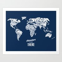 Adventure Is Out There - World Word Map with Travel Quote Art Print