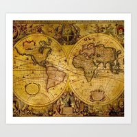 vintage map Art Prints featuring VintaGe Map by ''CVogiatzi.