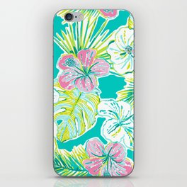 Whimsical Preppy Blue and Pink Floral Pattern iPhone Skin