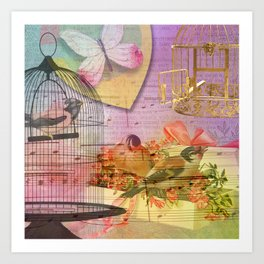 Beautiful Birds & Cages Colorful & Vintage Art Print