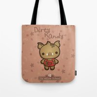 randy c Tote Bags featuring Randy the Dirty Boar by Squid&Pig