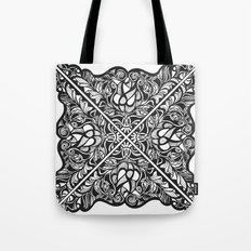 Black Lotus Lace Illustration Pattern Tote Bag