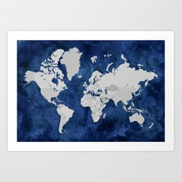 Dark blue watercolor and grey world map Art Print