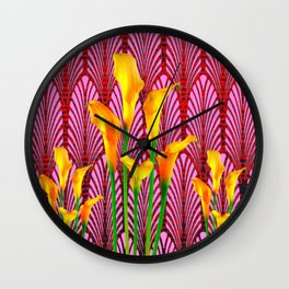 GOLDEN CALLA LILIES & RED ART DECO ART Wall Clock