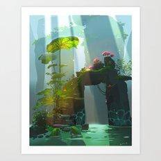 Traveler in Wonderland Art Print