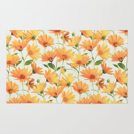 Painted Radiant Orange Daisies on off-white Rug