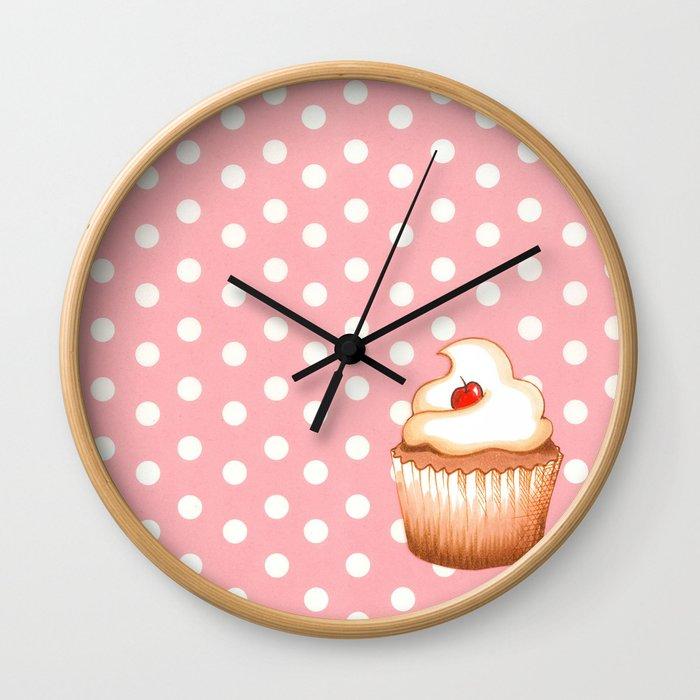 Cupcake and polka dots Wall Clock