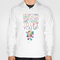 dumbo Hoodies featuring lift you up.. dumbo inspirational quote by studiomarshallarts