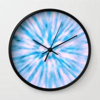 tie dye Wall Clocks featuring TIE DYE - LIGHT BLUE by Nika