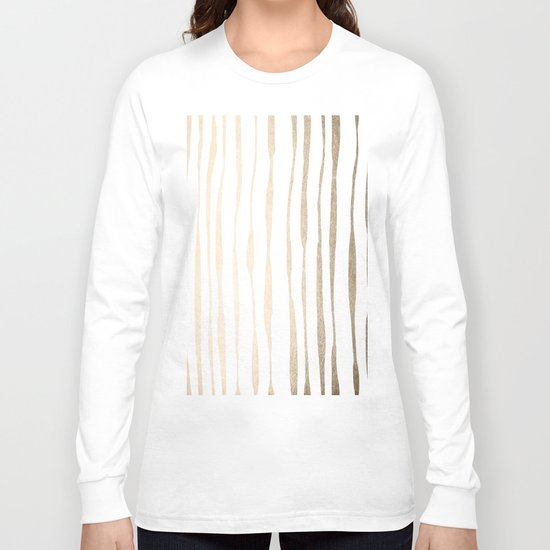 White Gold Sands Ink Pinstripes Long Sleeve T-shirt