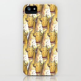 girafe eating a pizza pattern iPhone Case