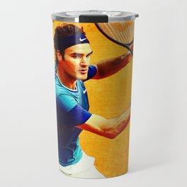 Roger Federer Tennis On Clay Travel Mug
