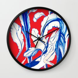 Plant in Blue Marker - Leaf of Life Miracle Leaf - RED Wall Clock