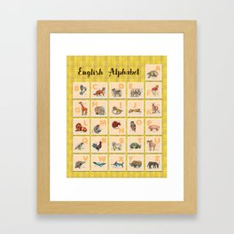 hand drawn animals poster for all English letters Framed Art Print