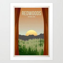 Redwoods National Park - Travel Poster -  Minimalist Art Print Kunstdrucke