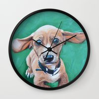 dale cooper Wall Clocks featuring Cooper by Lindsay Larremore Craige