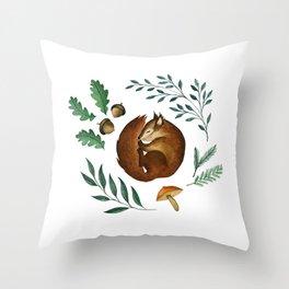 Sleepy Squirrel Throw Pillow
