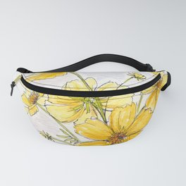 Yellow Cosmos, Still Life Fanny Pack