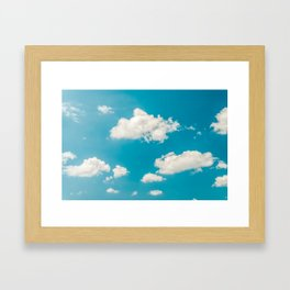 Deep Blue Summer Sky, White Clouds On Turquoise Sky, Heaven Scenery, Wall Art, Poster Decor Framed Art Print