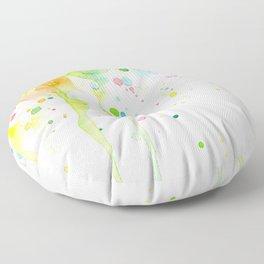 Watercolor Rainbow Splatters Abstract Texture Floor Pillow