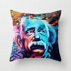 Urban Street Art: Albert Einstein Wall Mural Throw Pillow